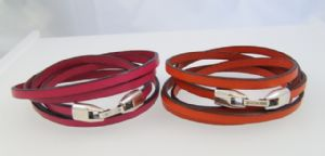 Leather Wrap Around Bracelet with Hook Clasp